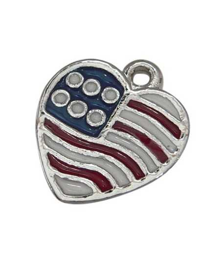 Enameled Patriotic Heart Charm