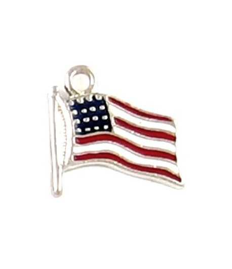 American Flag Charm Enameled 21x18mm