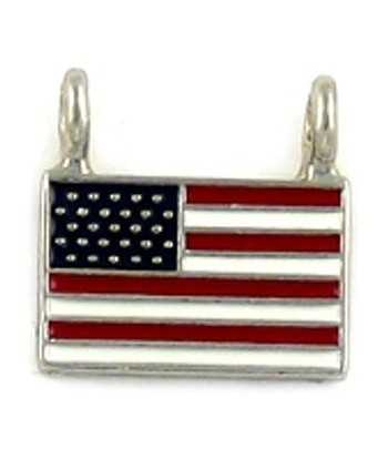 Enameled 2 Loop USA Flag Charm