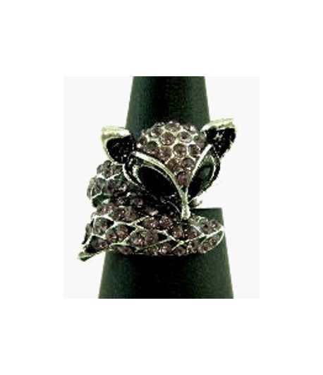 Fox with Amy Crystals Adjustable Ring - SR-9 (1.15 Inch x 1 Inch)