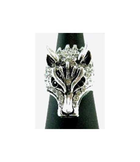 Wolf with Crystals Adjustable Ring - SR-8 (1.3 Inch x 0.8 Inch)