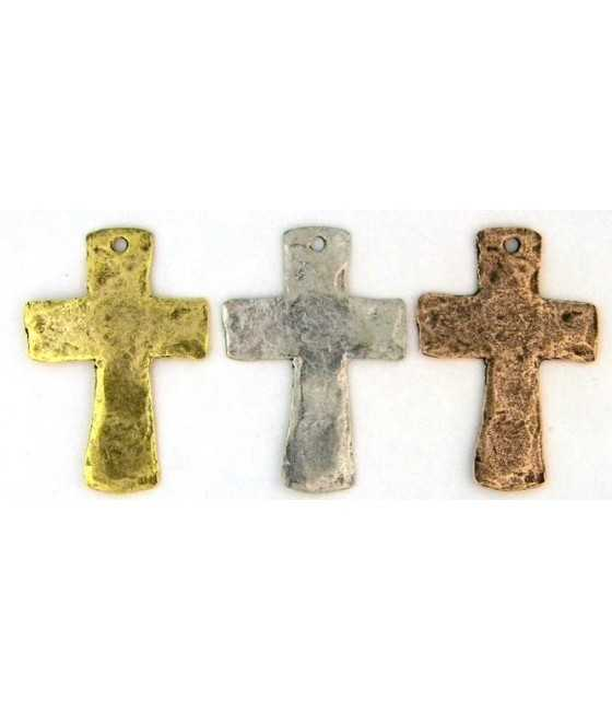 Hammered Cross Pendant Charm