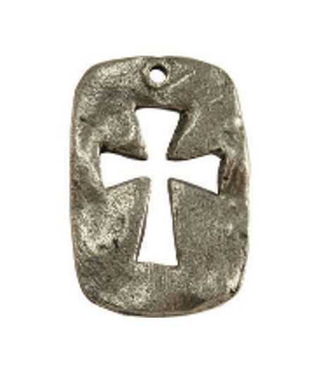 Large Cut Out Hammered Cross Charm 23x15mm