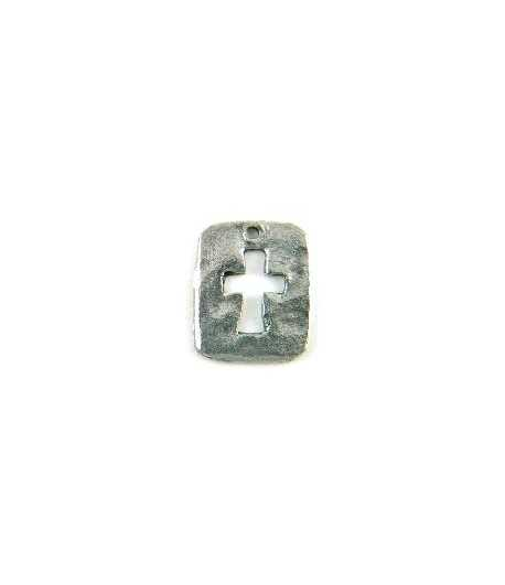 Small Cut Out Hammered Cross Charm 18x15mm