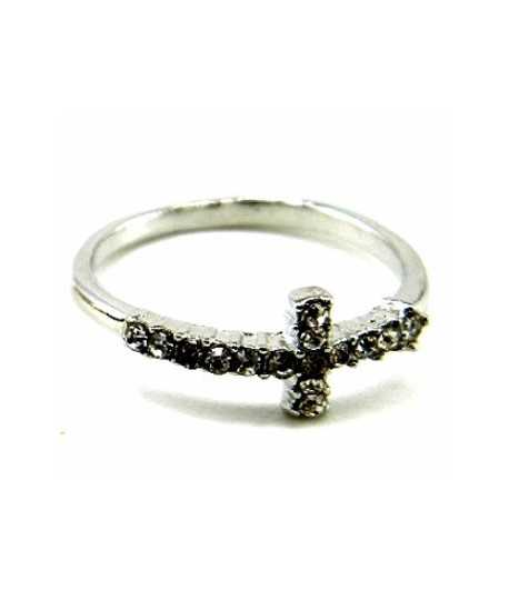 Cross Ring with Crystals - BL-CRNG Size 7