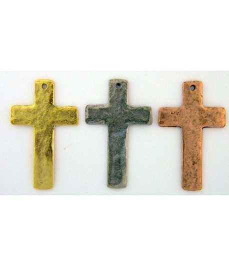 Hammered Cross Charm 34x22mm