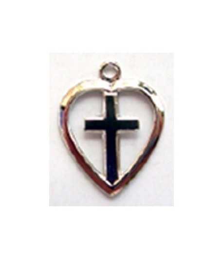 Cross in Heart Charm 12x12mm