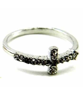 Cross Ring with Crystals -...