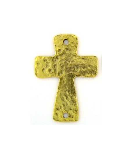 2Holes Antique Gold Only Hammered Cross Charm 51x36mm