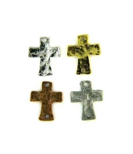 Small Hammered Cross Charm 19x15mm