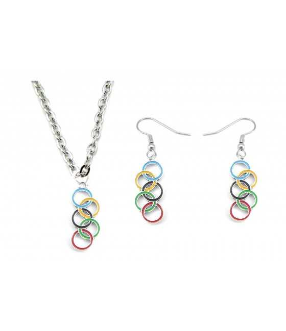 Colored Enameled olympic Charm Necklace and Earrings