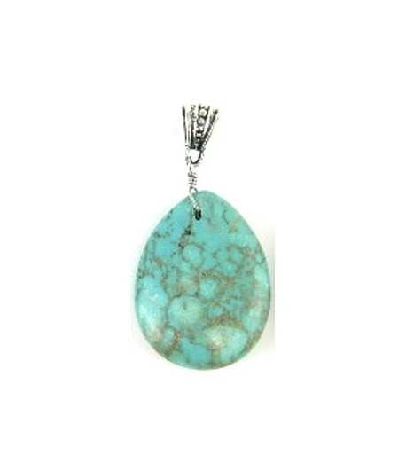 Turquoise Pendant with Bail - TQP19 40x30mm
