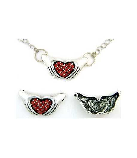 2 Hands Holding Heart with Red Rhinestones - LUTY-HHP 34x18mm