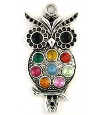 Owl with Rhinestones Pewter...