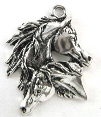 Two Horses Pewter Pendant -...
