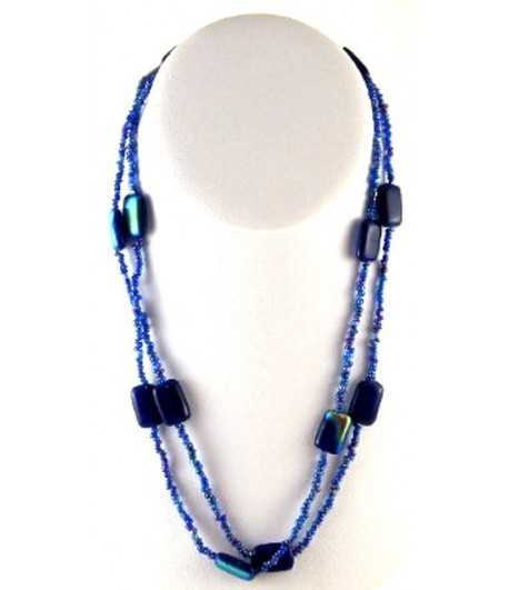 Navy Beaded 36 Inch Necklace - DAG-N-20