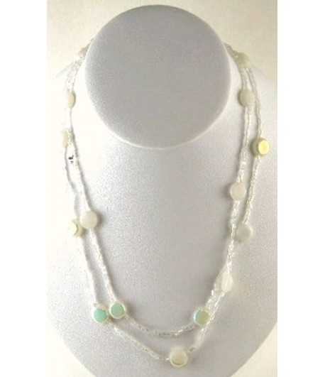 White Beaded 36 Inch Necklace - DAG-N-16