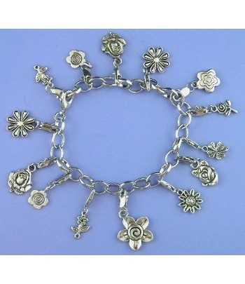 Charm Bracelet with Flowers...